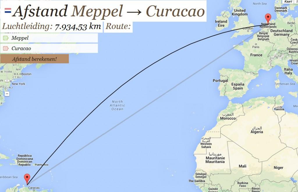 Afstand Meppel - Willemstad Curaçao